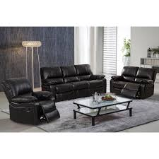 samantha leather gel 3 piece reclining sofa set with swivel rocker