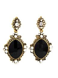 vintage earrings black rhinestone faux pearl drop earrings blue velvet