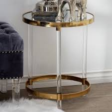 Acrylic Accent Table Gold Brass End Tables Side Tables Hayneedle