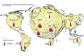 cartogram map of world wine consumption by country vivid maps