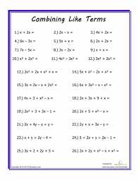 combining like terms worksheets math and algebra