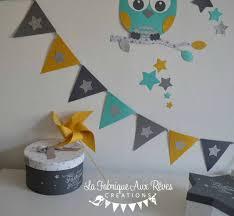 hibou chambre bébé banderole fanions jaune moutarde turquoise caraïbe gris