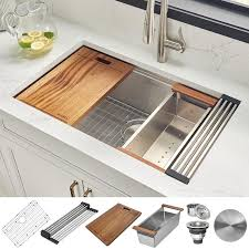 kitchen sink for 30 inch base cabinet ruvati roma undermount 30 in x 19 in brushed stainless steel single bowl workstation kitchen sink