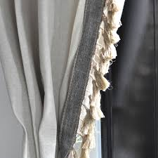 Navy Blue Curtains Ikea Anthro Inspired Jute Tassel Trim Curtains Jute Window And