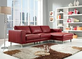 anika leather sectional sofa in red color by creative furniture
