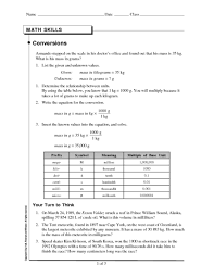 math skills conversions 8th 10th grade worksheet lesson planet