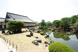 gardening traditional japan home design with large pool and