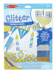 amazon com melissa u0026 doug mess free glitter menorah and dreidel