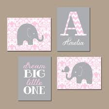 Pink Elephant Nursery Decor Elephant Nursery Wall Pink Gray Damask Baby Nursery