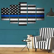 Thin Blue Line Flag 5 Panel American Thin Blue Line Flag Canvas Painting Wall Art U2013 It