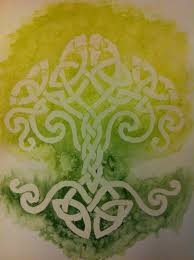 watercolor painting of green tree of made of celtic knots i