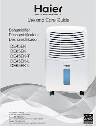 haier dehumidifier de45ek user guide manualsonline com