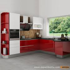 Modern Red LShaped Kitchen Designoppeinhomecom - Red lacquer kitchen cabinets