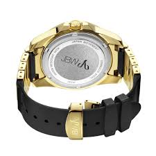 gold rubber bracelet images Jbw regal gold tone sunray crystal dial black rubber and gold tone jpg