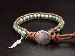 sterling silver leather bracelet images Turquoise leather wrap bracelet with sterling silver feather jpg