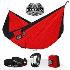 travel hammock set red black hamacka