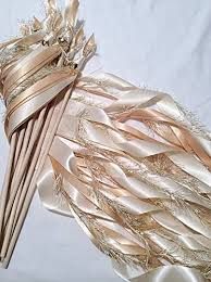 wedding wands 50 wedding wands ivory and toffee send ribbon