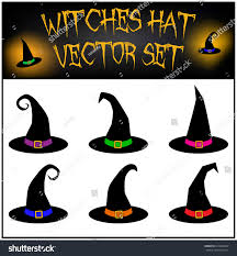 vector set halloween witches hat silhouette stock vector 316864097