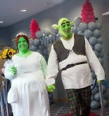 fairytale wedding couple tie knot dressed shrek