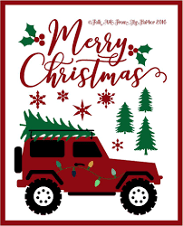 christmas jeep silhouette folk art from the harbor