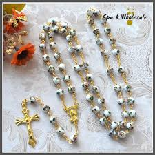 wedding rosary catholic women s wedding rosary white cloisonne rosary necklace
