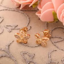 diamond stud earrings for women simple design daily wear flower shaped diamond stud earrings women