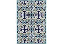 Outdoor Rug 6 X 9 Floral Inlay Blue 7 6 X 9 6 Indoor Outdoor Rug Rugs Blue