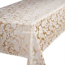 Oblong Table Cloth Cadiz Champagne Gold Oblong Tablecloth Chiltern Mills
