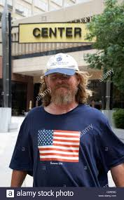 Nashville Flag Bearded Man Wearing Us Flag T Shirt Nashville Tennessee Usa Stock