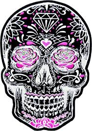 black sugar skull with pink roses s back patches