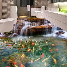 3d Bathroom Floors by Wholesale Custom 3d Floor Wallpaper Hd Waterfall Carp Bathroom