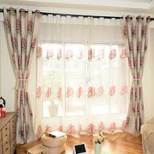 livingroom curtain blue floral curtains pink yellow black green vintage