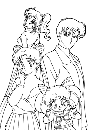 sailor moon characters anime coloring pages for kids printable