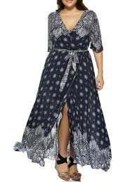 dresses deep blue 5xl plus size print bohemian wrap maxi plunge