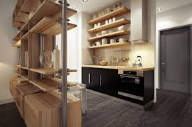 interior small kitchen with wooden kitchen shelves and stainless