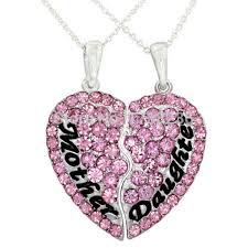 best necklace sets images Pink rhinestone mother daughter heart best friend forever mom jpg