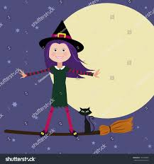halloween witch flying by moon vector stock vector 153594809
