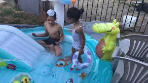 Intex Inflatable Swimming Pool Intex Inflatable Gator Play Water Pool Slider Youtube