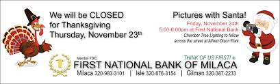 will be closed for thanksgiving national bank of milaca