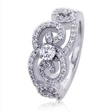 art silver rings images Double accent platinum plated sterling silver wedding ring round jpg