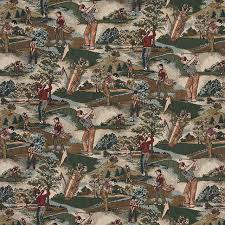 golfers golf course and golf bags themed tapestry upholstery