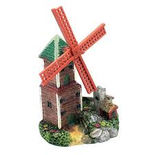 new creative resin windmill castle aquarium decoration air driving