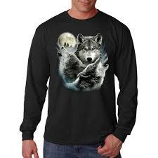 sleeve t shirt three wolf moon howling wilderness