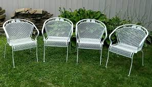 Patio Furniture Wrought Iron by 4 Vintage Meadowcraft Wrought Iron Metal Barrel Back Patio Chairs