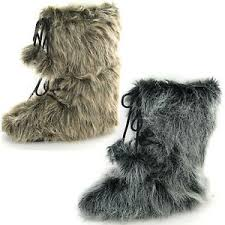s yeti boots s pull on fur effect yeti style fashion boots with pompoms