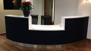 Reception Desk Black Bespoke Curved Reception Desk With White Staron Worktops Black