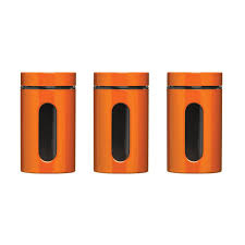 storage canisters kitchen premier housewares storage canisters set of 3 orange amazon co