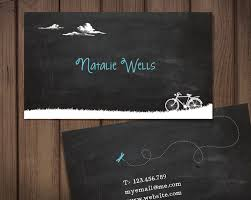 Bicycle Business Cards Chalkboard Business Card Bicycle Theme Premade Personal