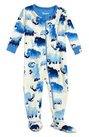 hatley woolly mammoth organic cotton fitted one pajamas