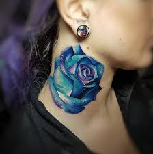 blue neck rose u003c u003cneck tattoos u003e u003e pinterest tattoo piercings